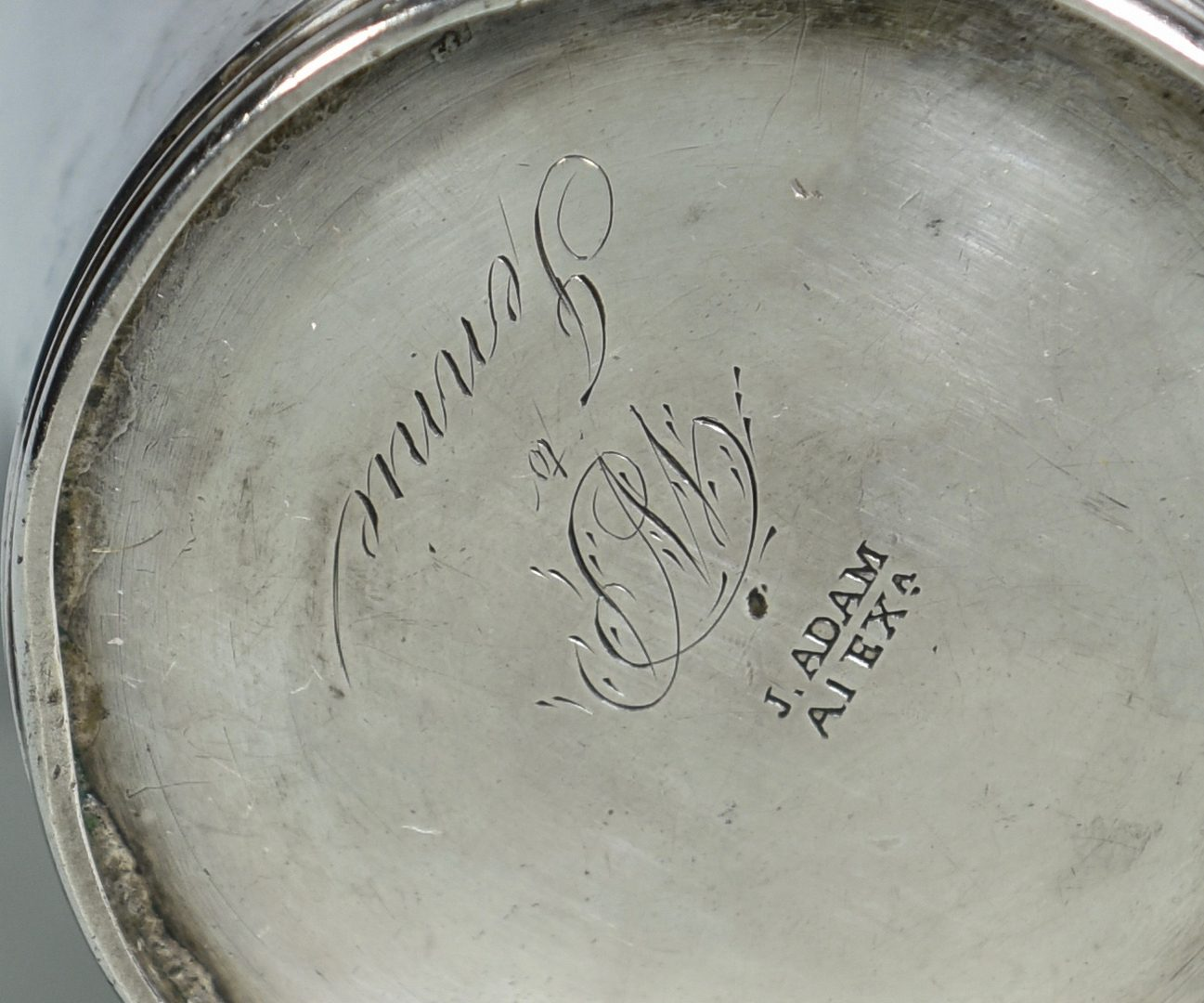 Lot 158: Alexandria, Virginia Coin Silver Cup, Adam , Polk History