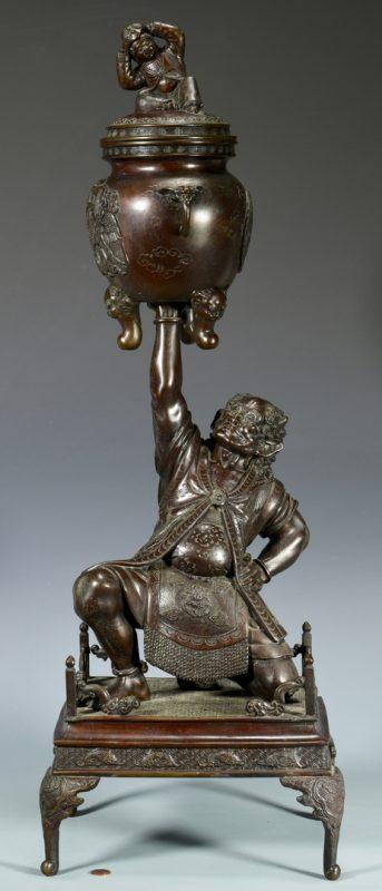 Lot 15: Large Japanese Meiji Bronze Oni w/ Urn