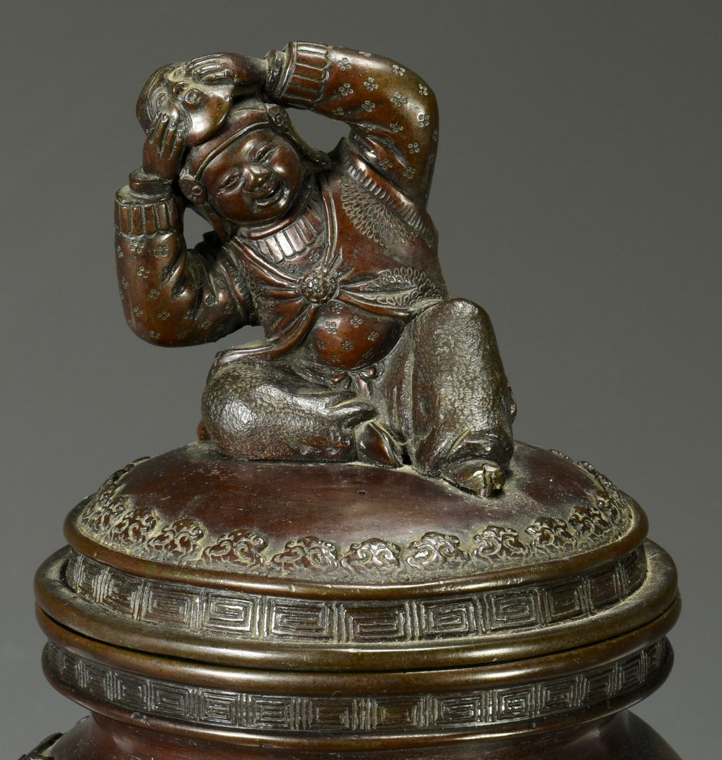 Lot 15: Large Japanese Meiji Bronze Oni w/ Urn