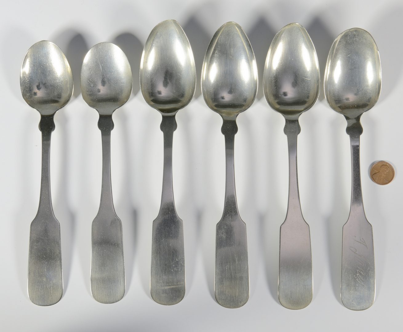 Lot 163: 6 J.S. Curtis Memphis Coin Silver Tablespoons
