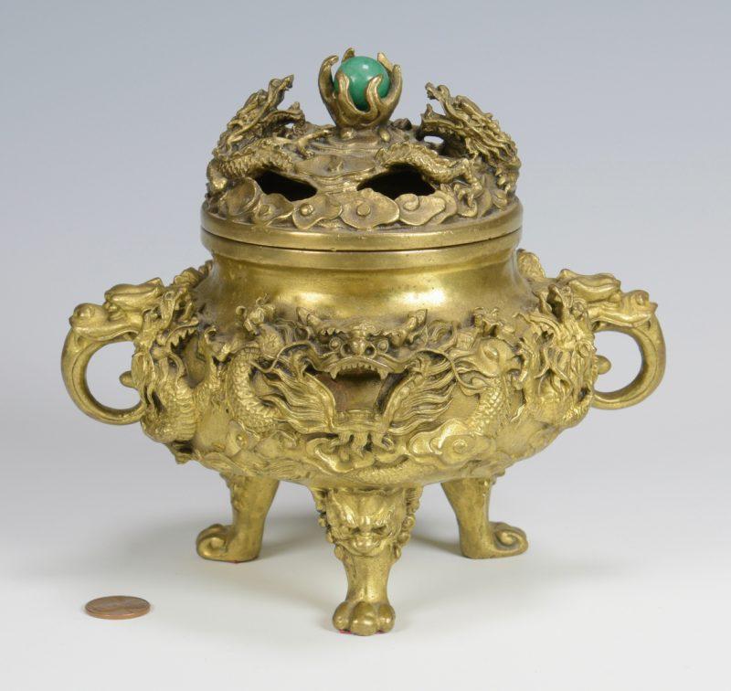 Lot 16: Chinese Gilt Bronze Dragon Censer
