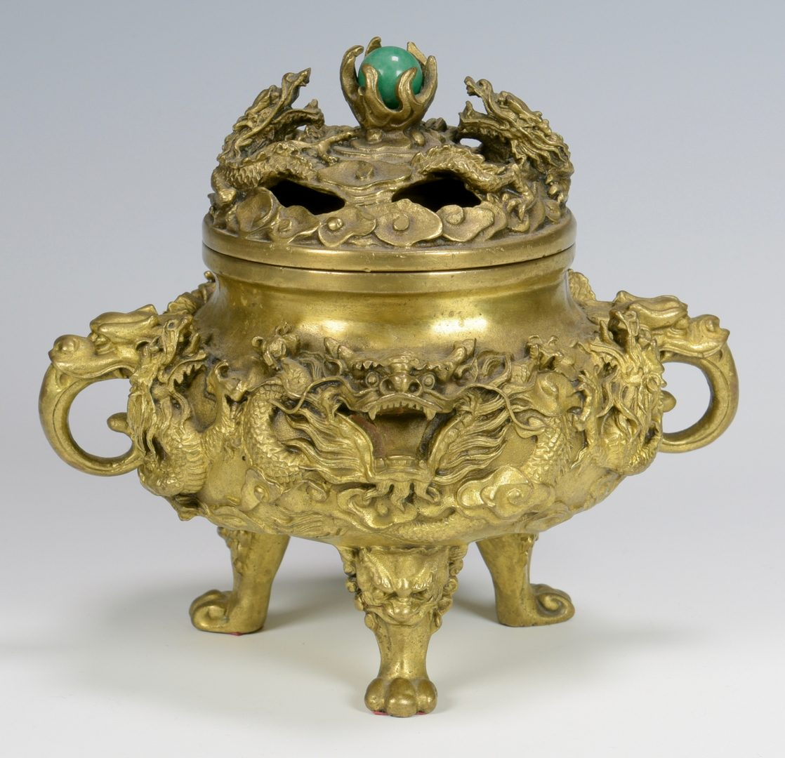 Lot 16: Chinese Gilt Bronze Dragon Censer