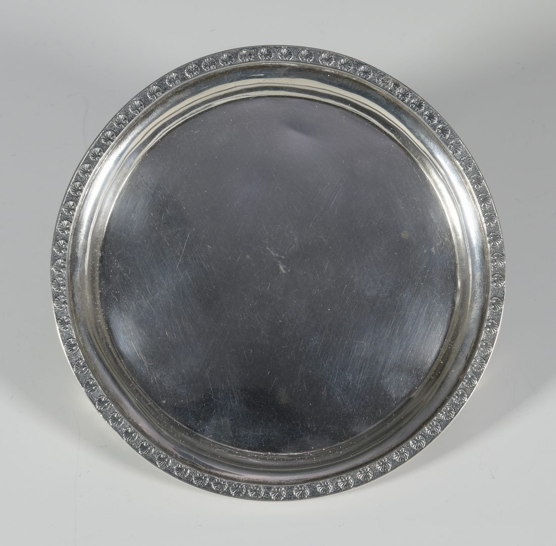 Lot 170: J. Ewan SC Coin Silver Salver – plus 6 Northern spoons