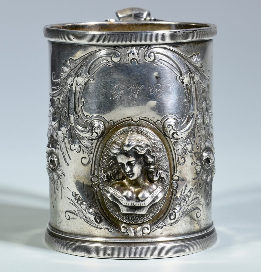 Lot 171: 2 Silver Mugs inc. Medallion and Bailey