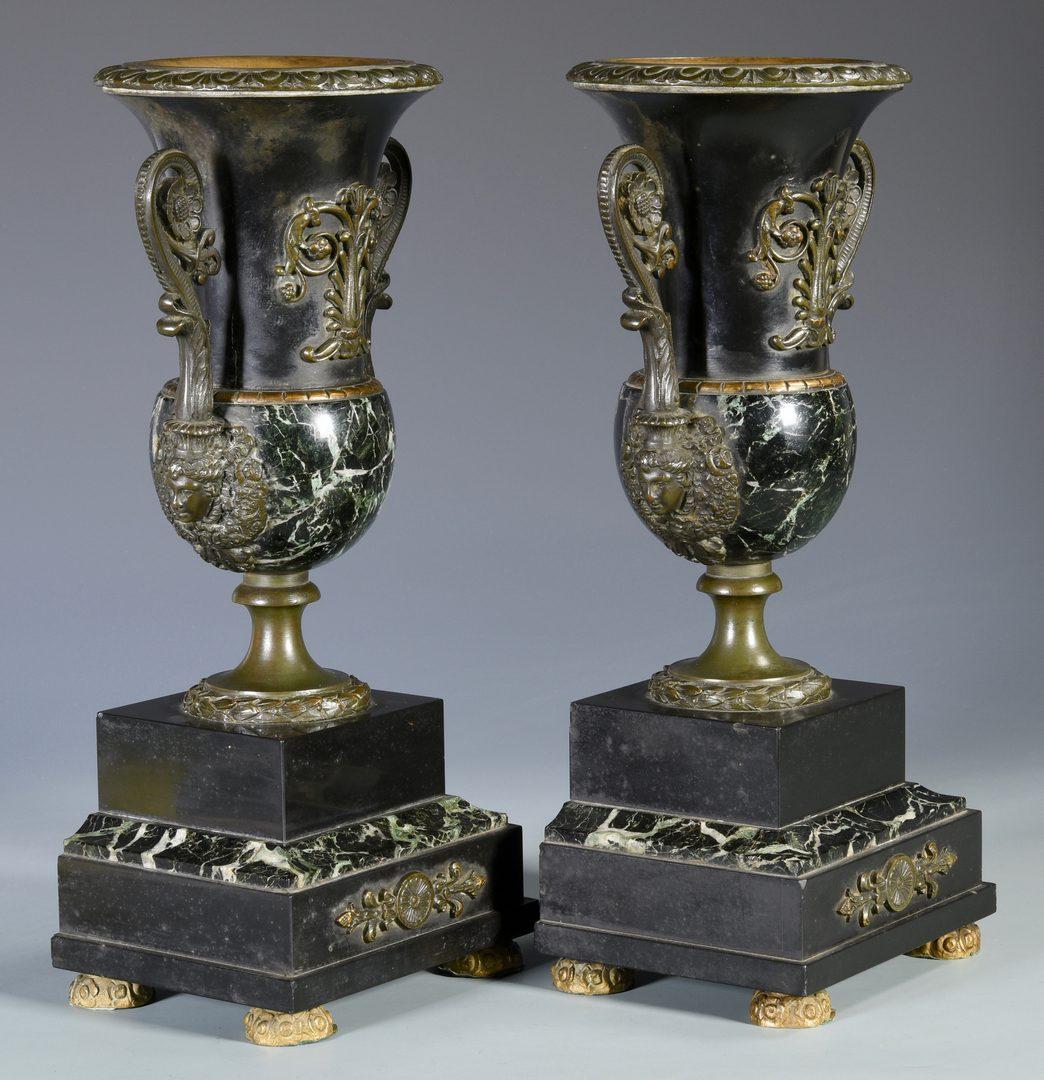 Lot 172: Pr. French Bronze & Marble Urn Garnitures