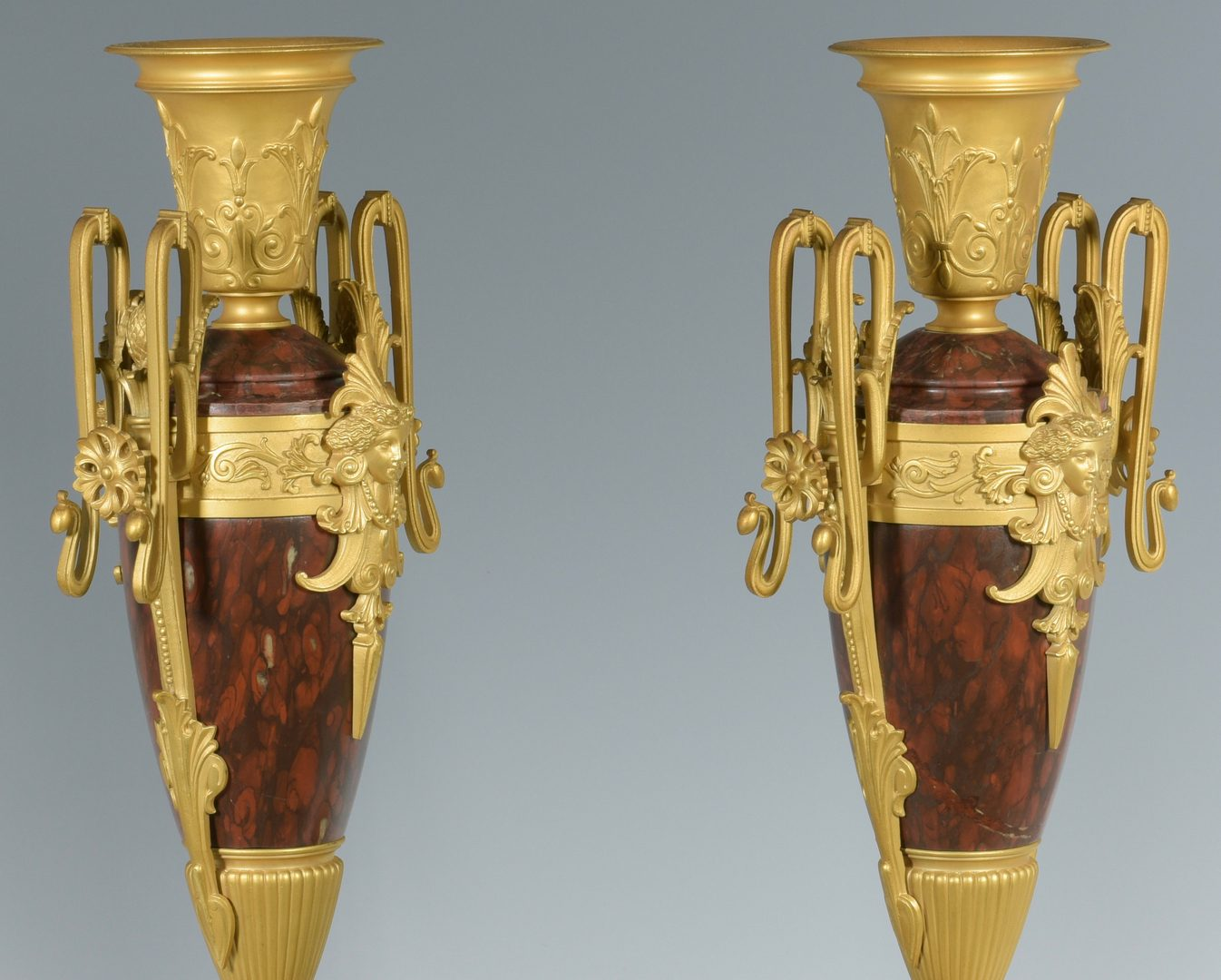 Lot 173: Pr. Aesthetic Movement Marble & Gilt Bronze Urns