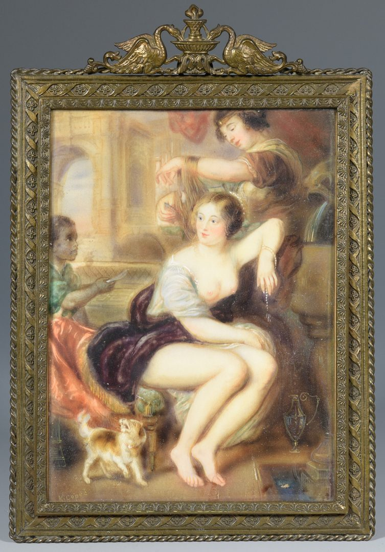 Lot 178: Miniature painting, nude with attendants and dog