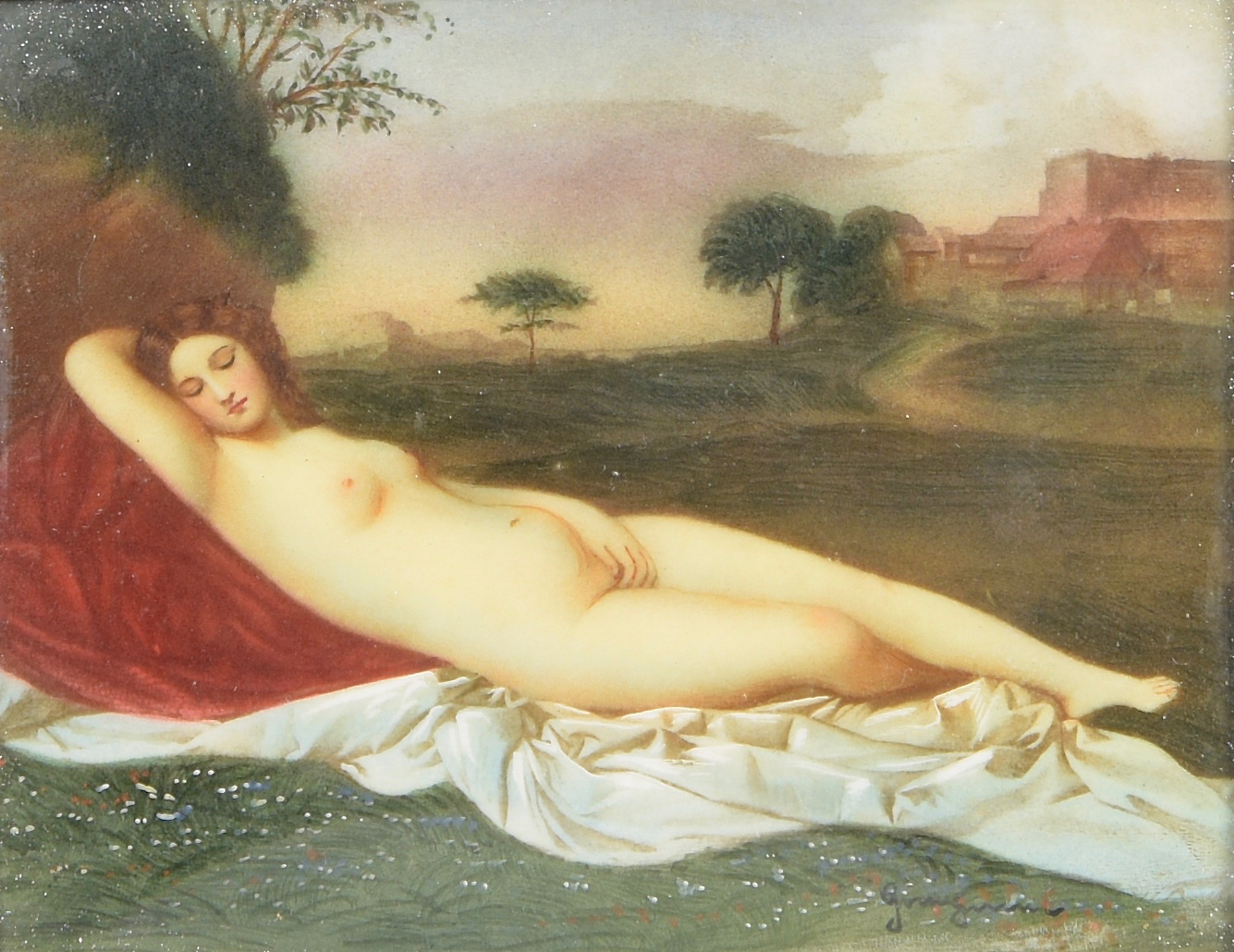 Lot 179: Miniature painting, nude in landscape