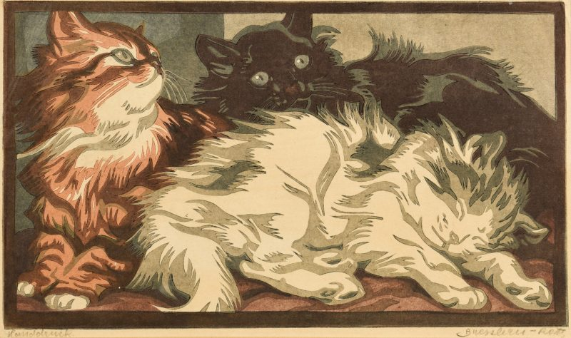 Lot 182: Signed Bresslern-Roth Linocut of Kittens