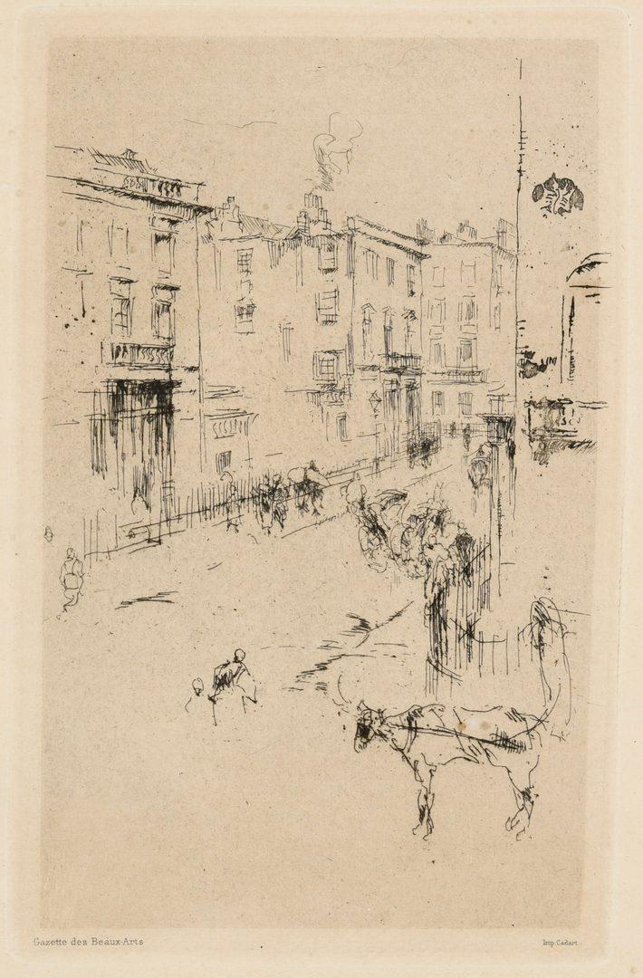 Lot 186: James M. Whistler Etching, Alderney Street