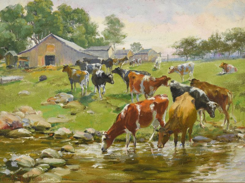 Lot 192: Charles Corwin Oil on Board Farm Scene