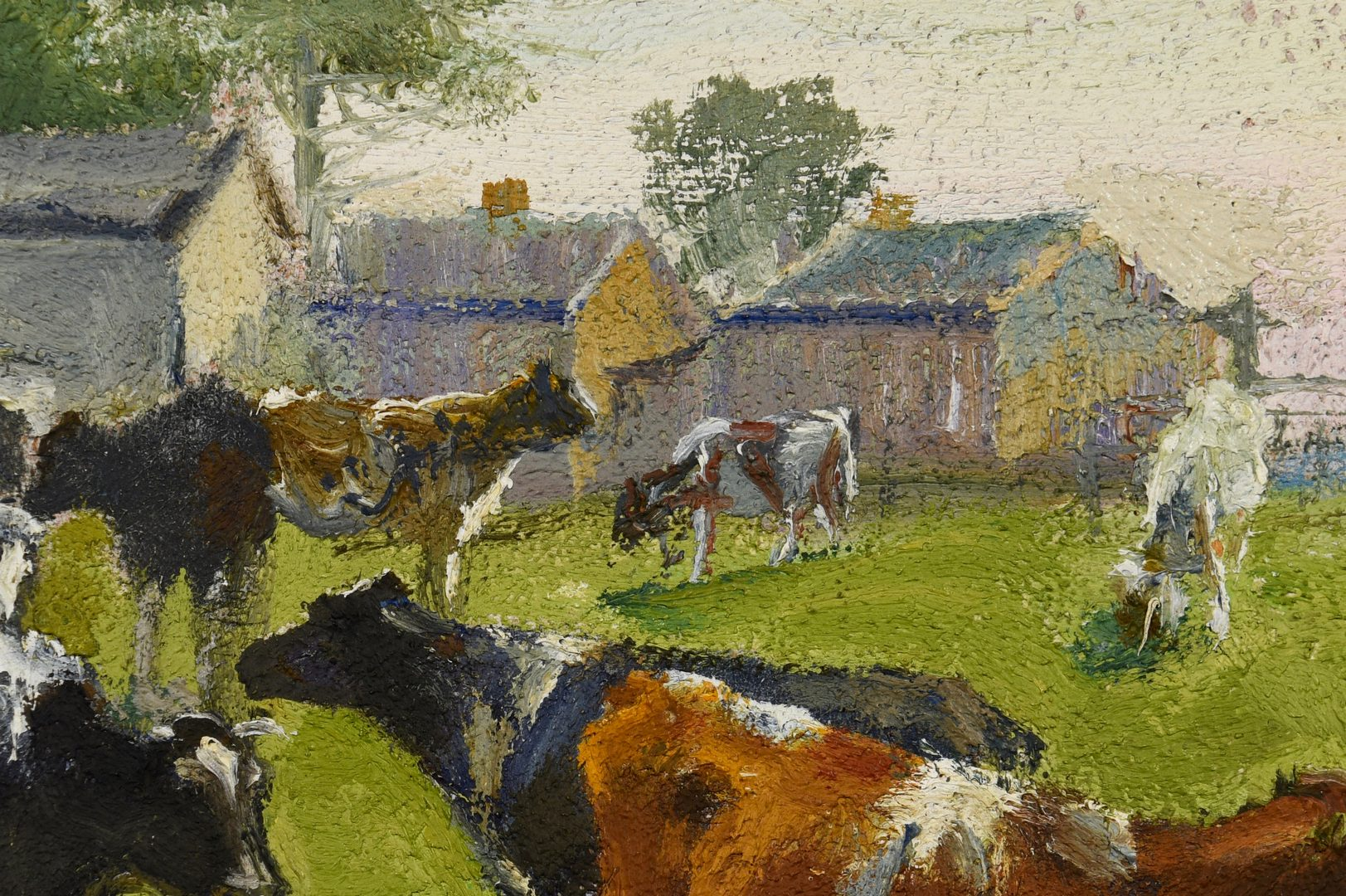 Lot 192: Charles Corwin Oil on Board Farm Scene