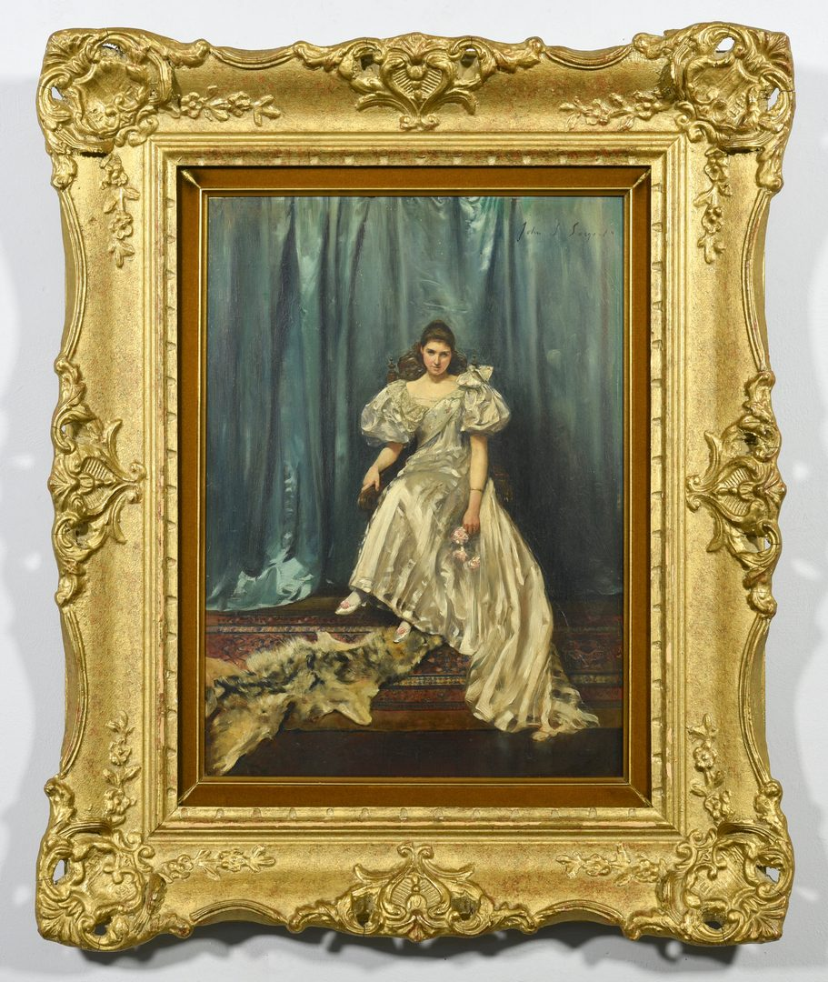 Lot 195: Oil on Board Portrait, after John Singer Sargent