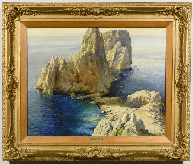Lot 196: Michele Federico O/C Seascape, Rocks