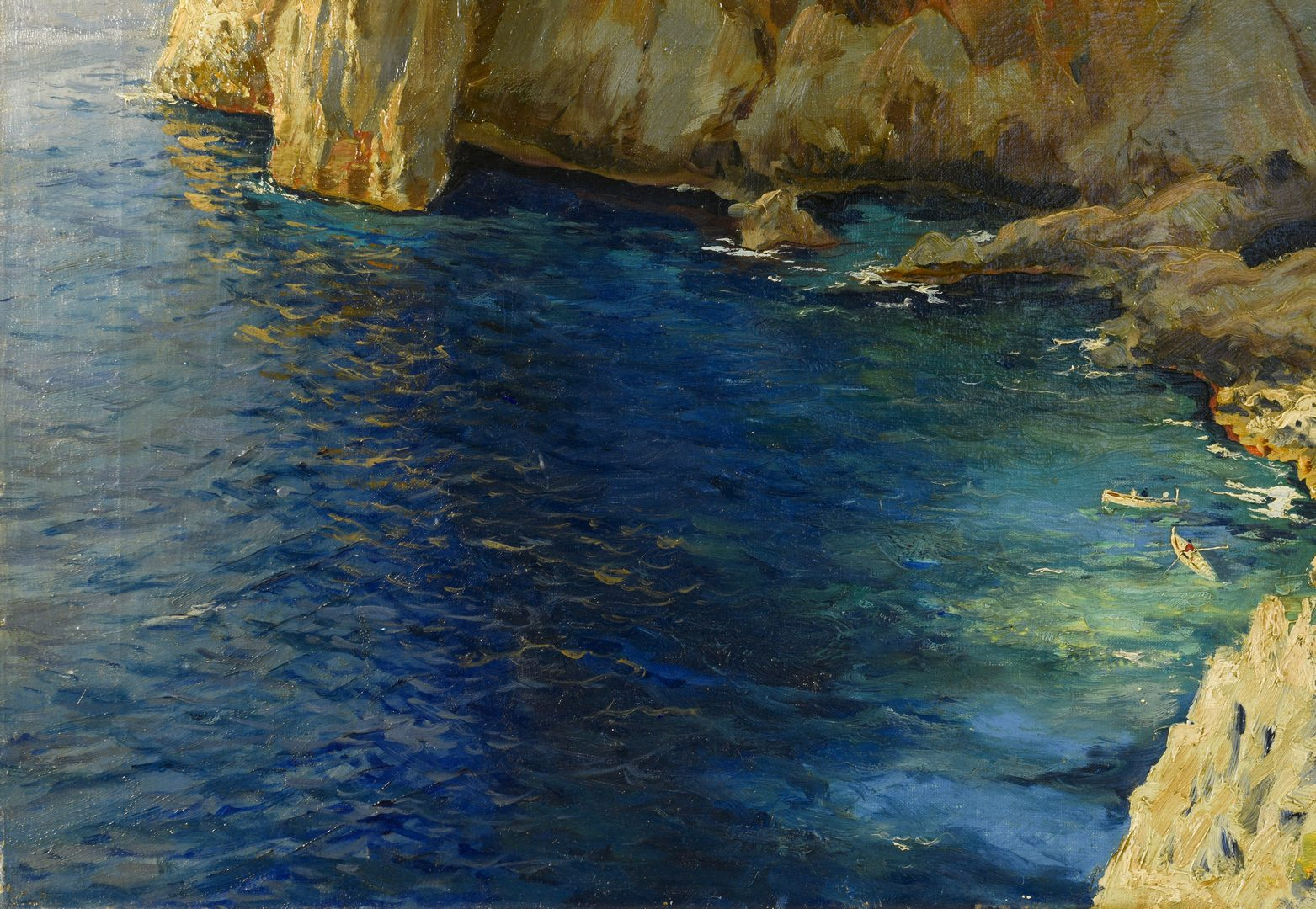 Lot 196: Michele Federico O/C Seascape, Rocks