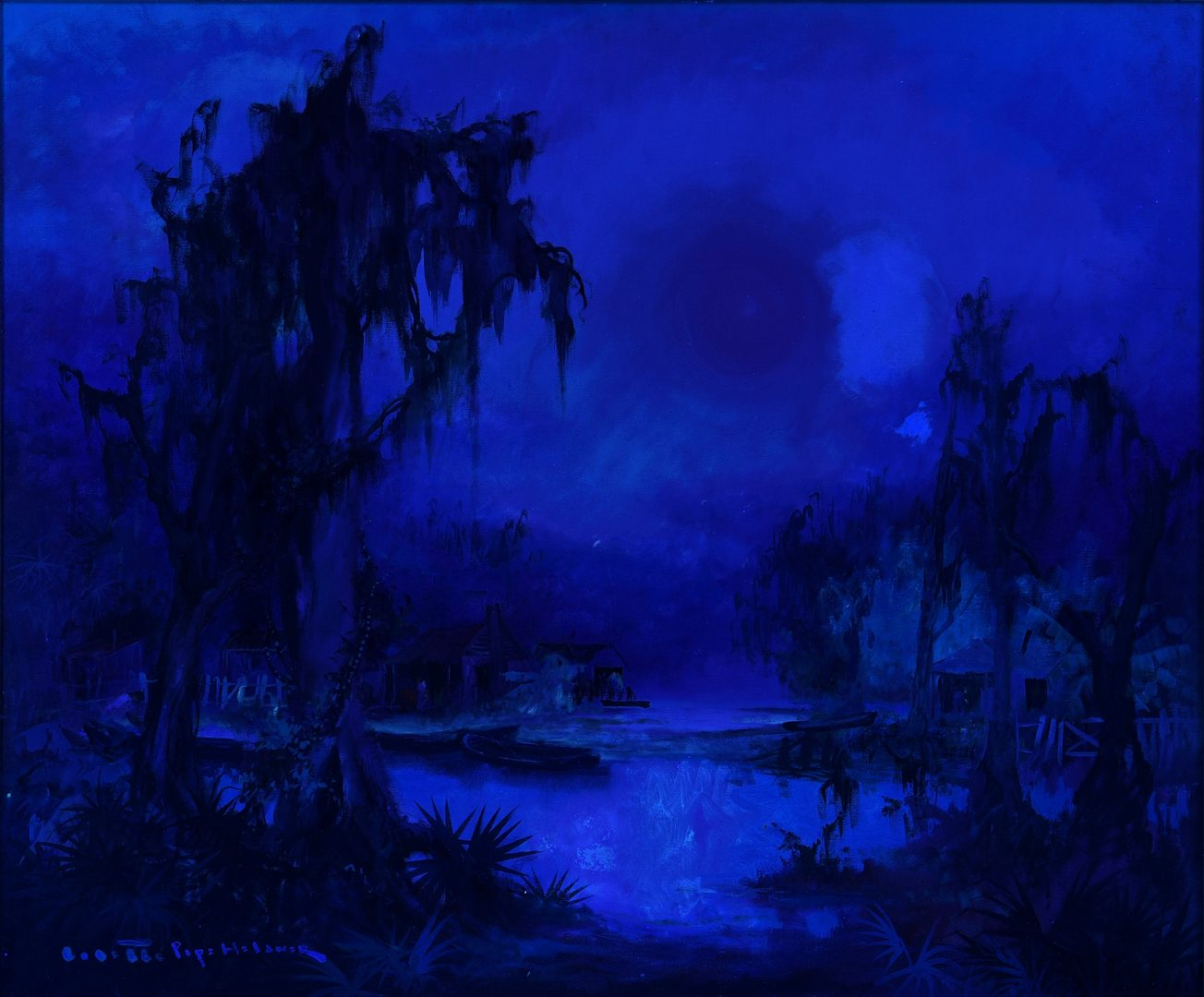 Lot 199: Colette Heldner Swamp Scene Oil on Canvas