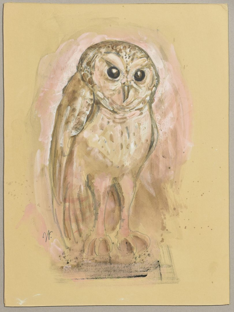 Lot 210: 2 Werner Wildner Watercolors, Mouse & Owl