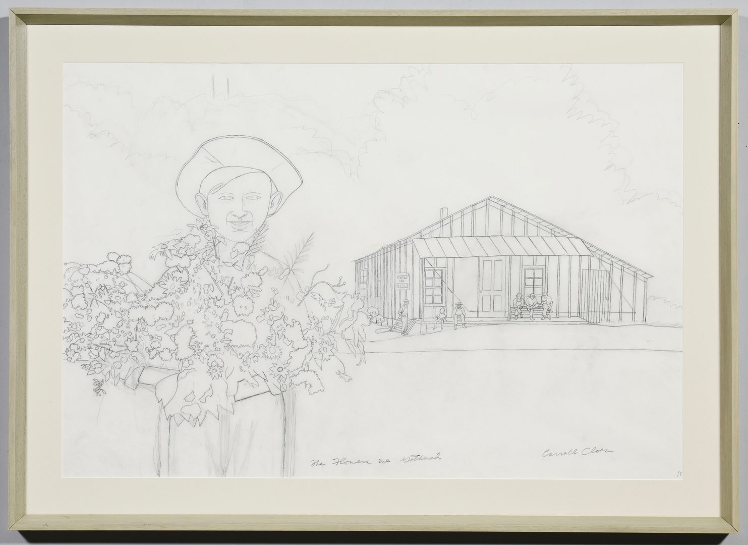 Lot 212: Carroll Cloar Drawing, Flowers We Gathered