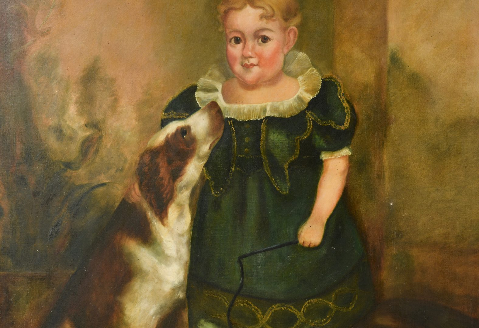 Lot 215: O/C portrait of young E.D. Hicks with dog