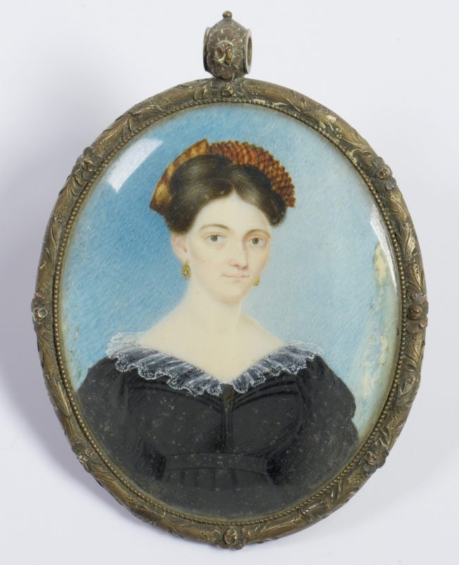 Lot 216: Portrait miniature of Nancy Davis, TN