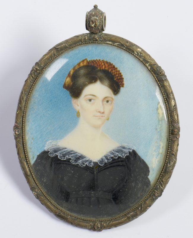Lot 216: Portrait miniature of Nancy Davis, TN