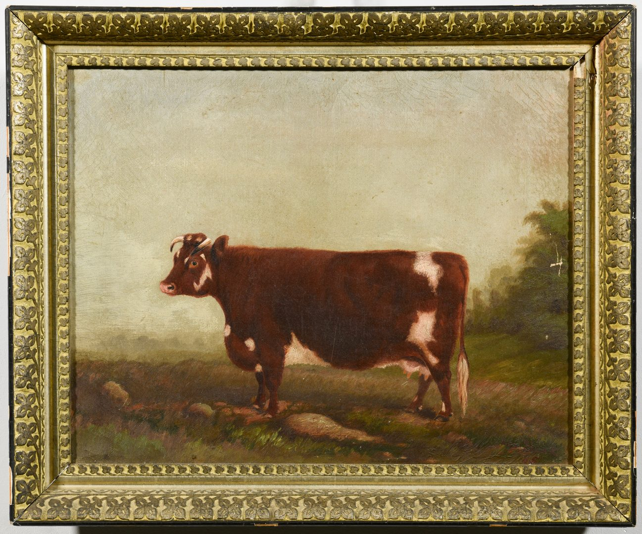Lot 219: 19th c. Portrait of a Prize Cow, Devon Farm