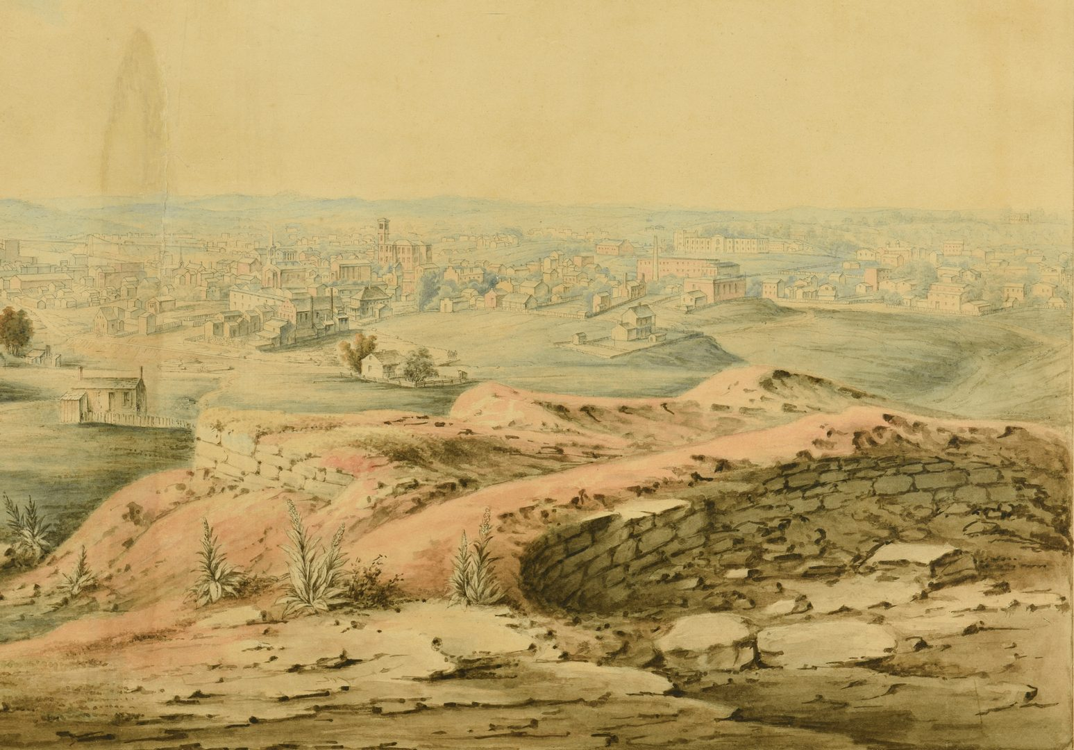 Lot 220: 19th c. Watercolor View, Nashville from Ft. Negley