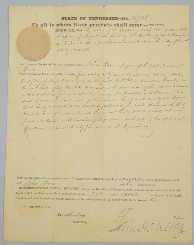 Lot 221: Sam Houston Signed Land Grant, John Davis related