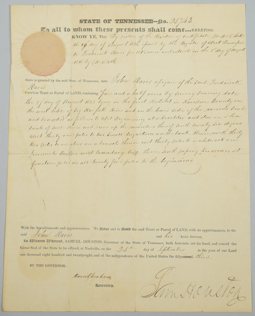 Lot 221: Sam Houston Signed Land Grant, John Davis related