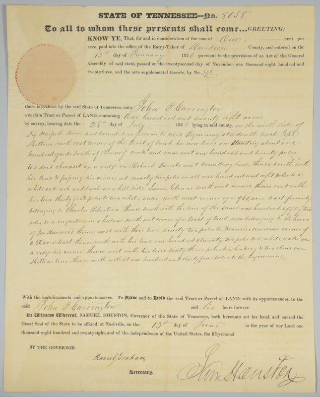 Lot 222: Sam Houston Signed Land Grant, Carrington