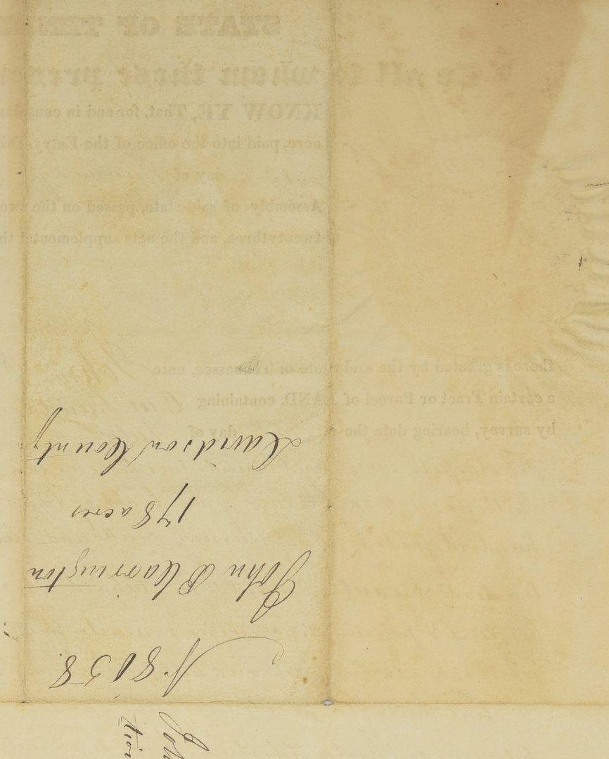Lot 222: Sam Houston Signed Land Grant, Carrington