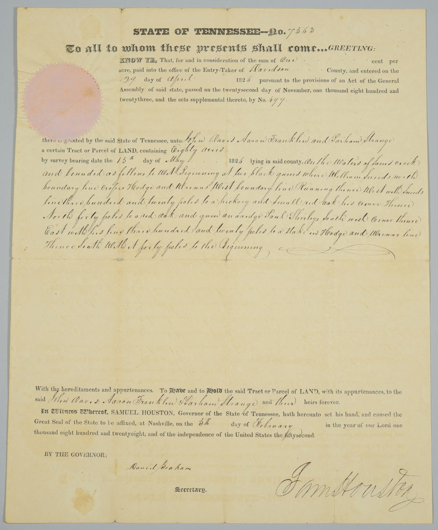 Lot 223: Sam Houston Signed Land Grant to 3 men