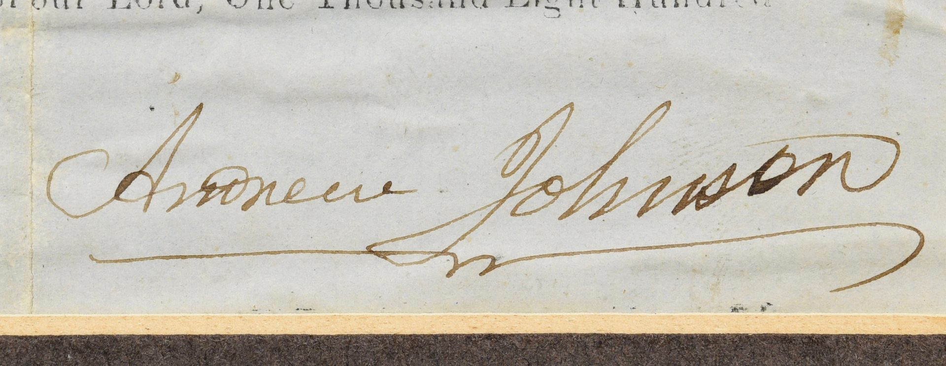 Lot 224: 1857 Andrew Johnson Signed Land Grant