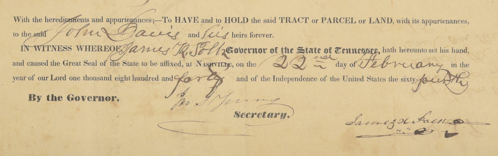 Lot 225: Gov. James K. Polk Signed Land Grant, Feb. 1840