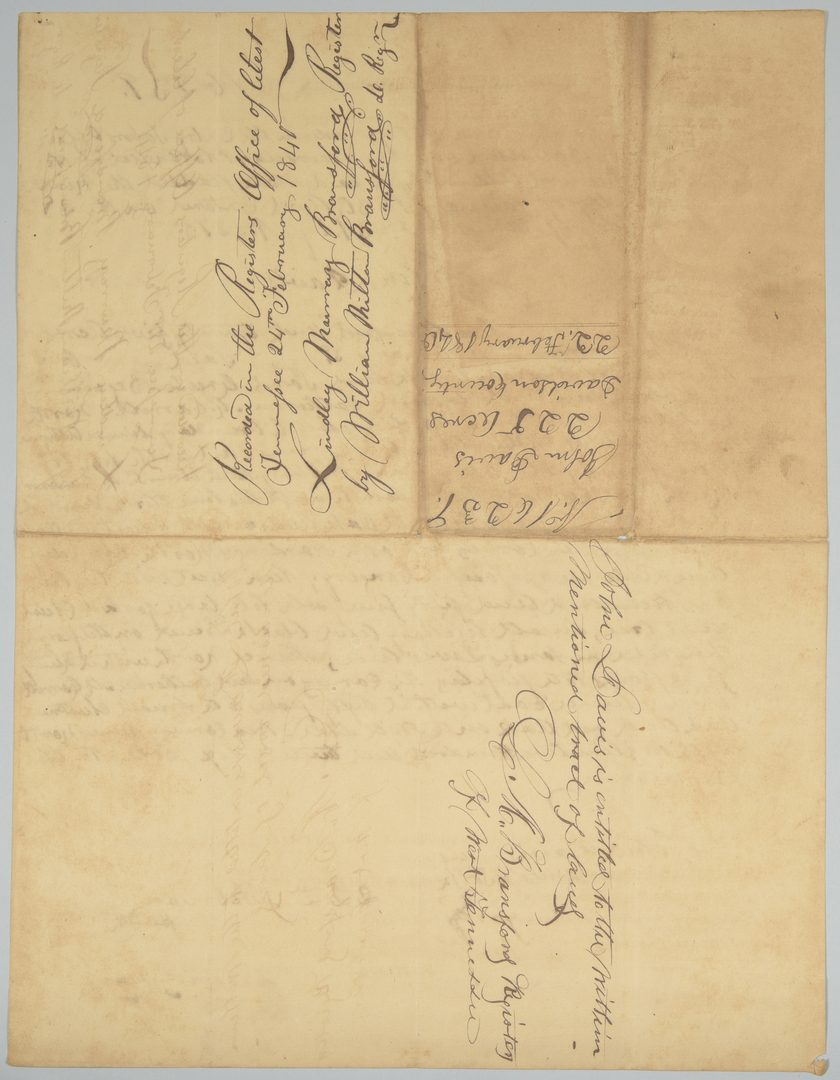 Lot 225: Gov. James K. Polk Signed Land Grant, Feb. 1840
