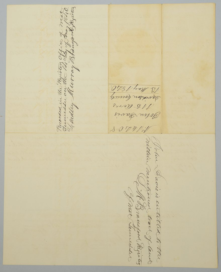 Lot 226: Gov. James K. Polk Signed Land Grant, May 1840