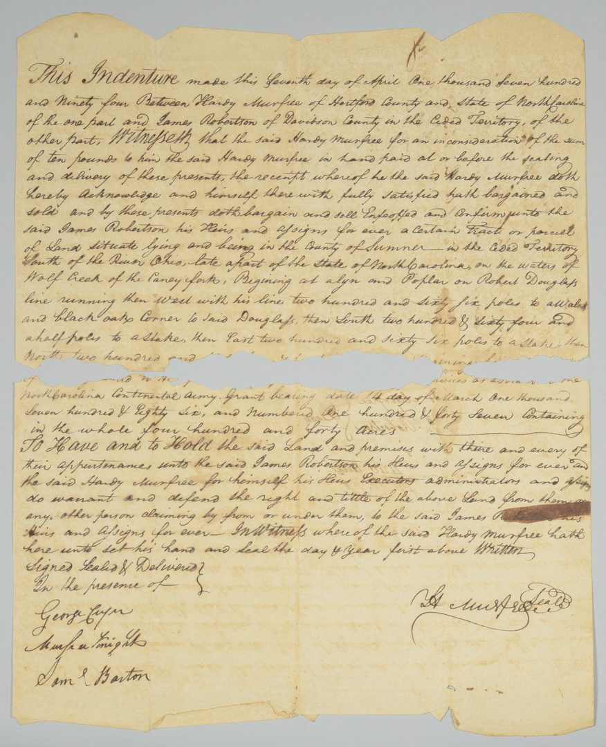Lot 228: Col. Hardy Murfree signed land sale to James Robertson