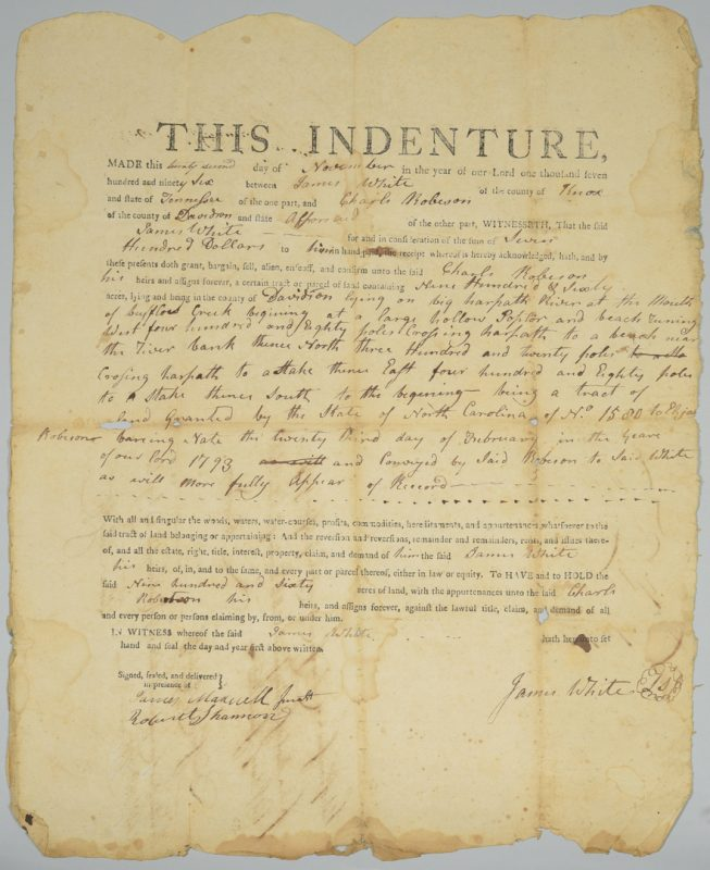 Lot 229: James White (founder of Knoxville) signed land sale in Nashville