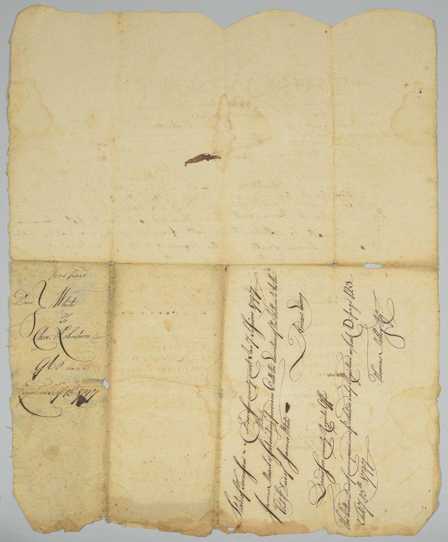 Lot 229: James White (founder of Knoxville) signed land sale in Nashville
