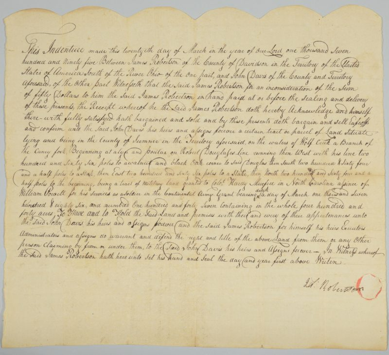 Lot 230: Gen. James Robertson Signed Sale of Land to John Davis