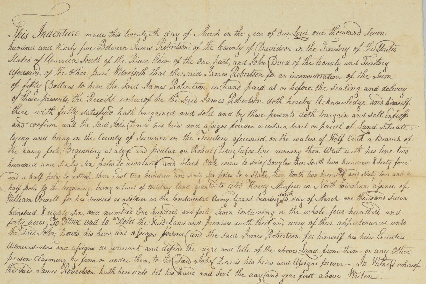 Lot 230: Gen. James Robertson Signed Sale of Land to John Davis