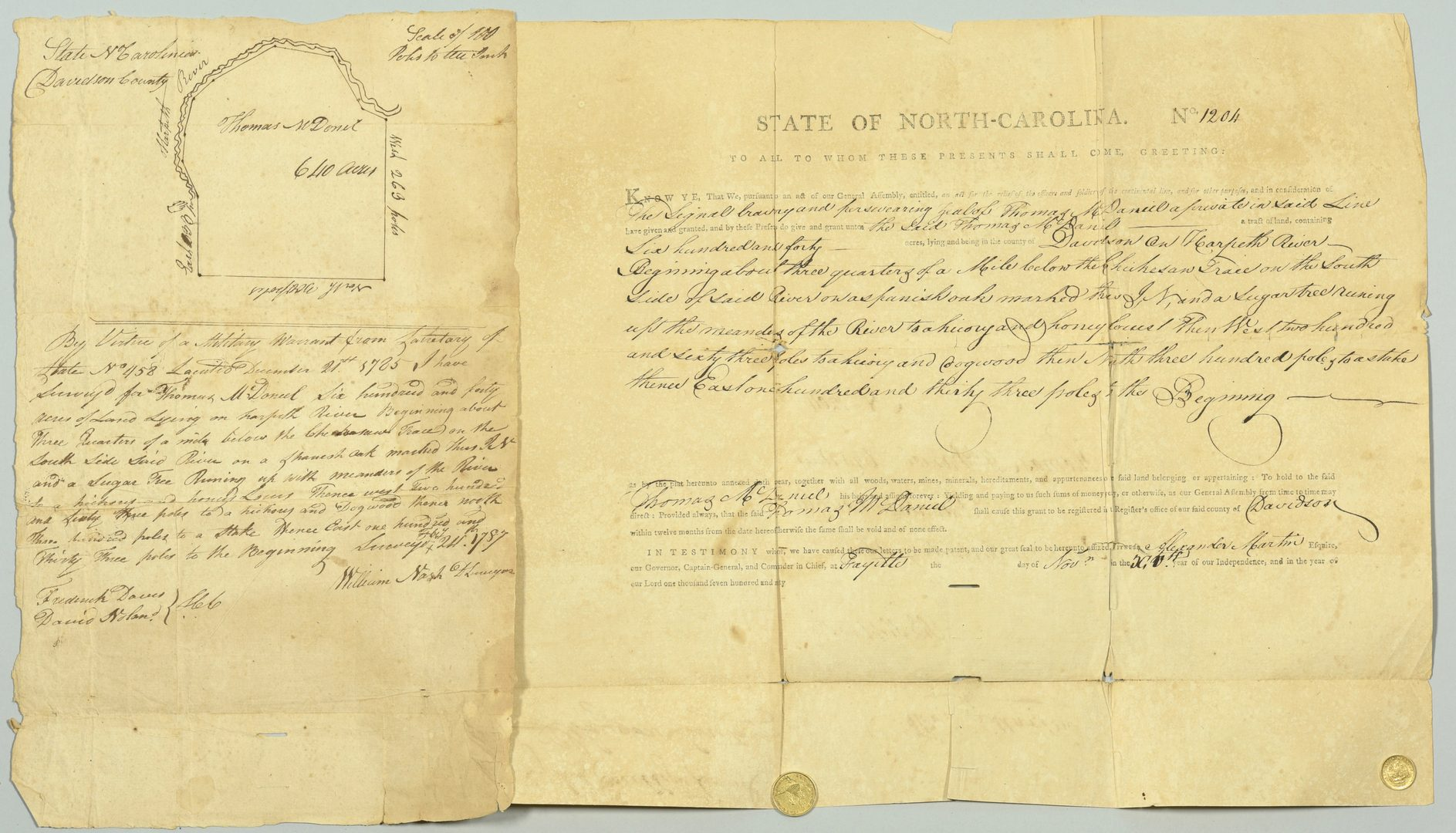 Lot 231: 1790 Alex. Martin Sgd. Land Grant, NC TN