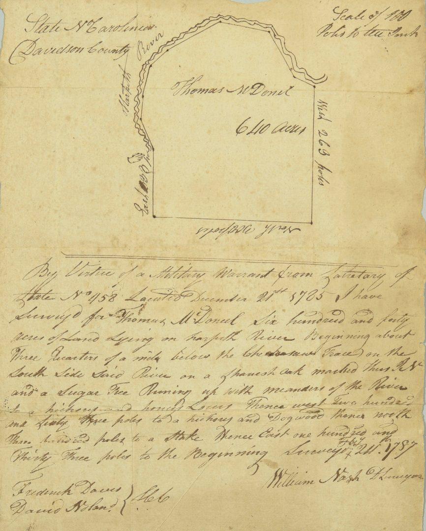 Lot 231: 1790 Alex. Martin Sgd. Land Grant, NC TN