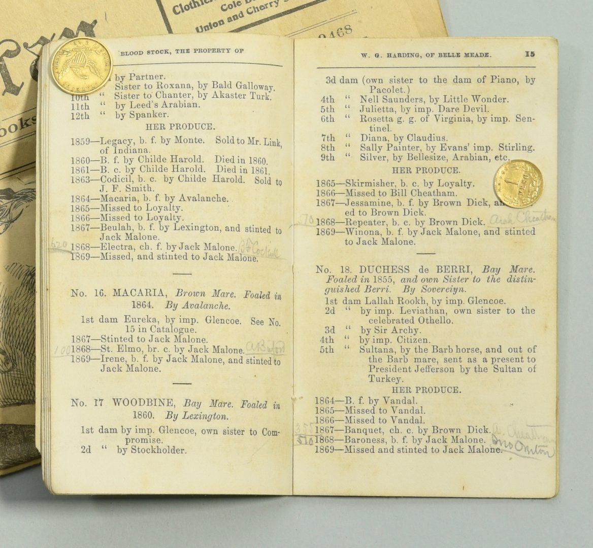 Lot 239: W.G. Harding Horse Catalog and Belle Meade Archive