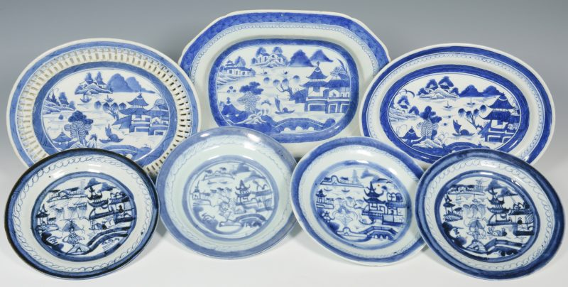 Lot 23: 7  Chinese Blue & White Export Canton Pcs.