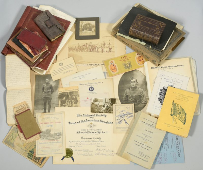 Lot 243: Hicks Family Archive, TN, sold $7,080
