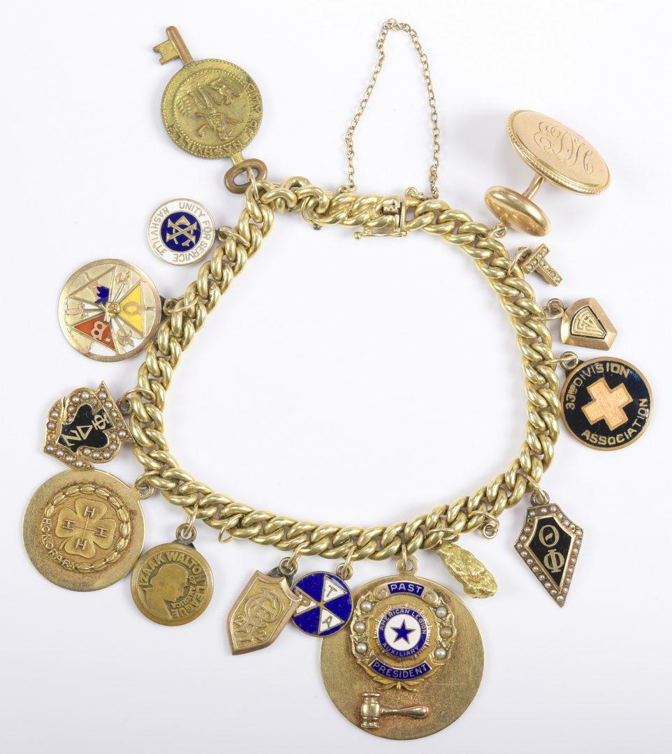Lot 252: Ed Hicks Masonic Gold Charm 14K Bracelet