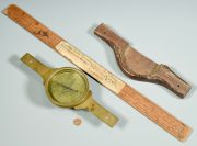 Lot 257: John Davis's Brass Surveyor Compass and Scale, sold $3,422