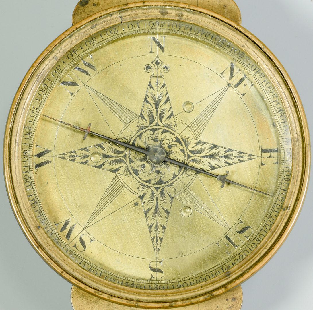 Lot 257: John Davis's Brass Surveyor Compass and Scale