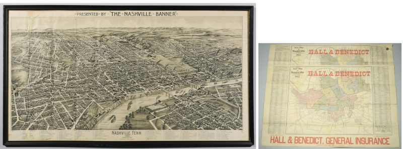 Lot 259: 1888 Birdseye View Nashville Map plus 2 Streetcar Maps